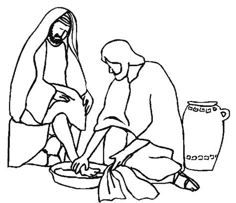 jesus washing disciples coloring pages