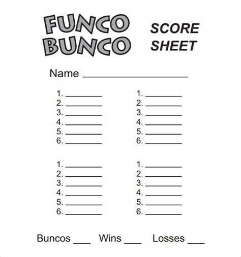 free bunco scorecard template 13 sle bunco score sheets templates to