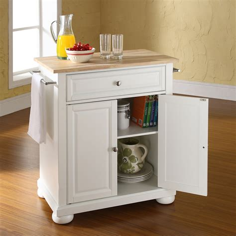 white kitchen island with natural top alexandria natural wood top portable kitchen island