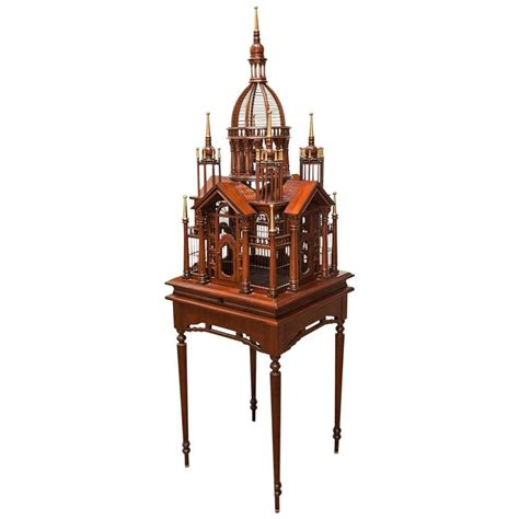 Maitland Smith L by Maitland Smith Mahogany Architectural Birdcage On Stand