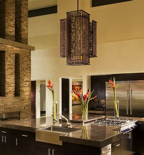 Modern Kitchen Chandelier Contemporary Bronze Iron Shoji Pendant Asian Inspired