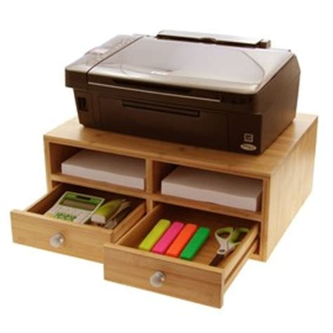 printer stand for desk bamboo office products woodquail