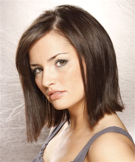 brunette bob hairstyles with bangs medium bob hairstyle straight casual dark brunette