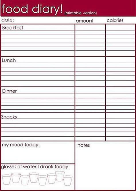 printable food diet journal 7 best images about food diaries on pinterest color