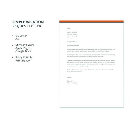 7 Sle Vacation Request Letters Pdf Doc Apple Pages Sle Templates Letter Templates For Mac