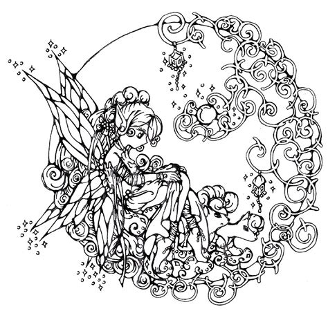 coloring pages for adults of fairies coloring pages