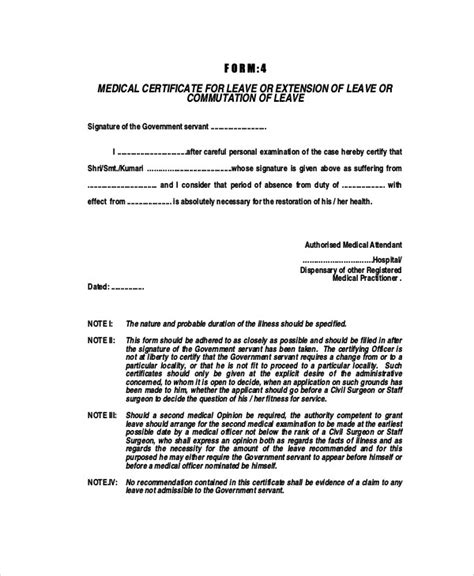 Doctor Certificate For Sick Leave Template - UN Mission - Resume and ...