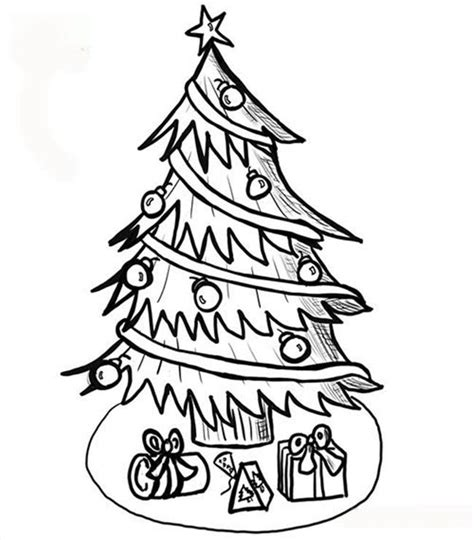 printable christmas tree drawing free printable christmas tree coloring pages for kids