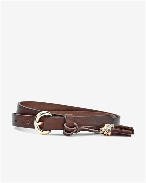 slim leather belt with tassel rw co