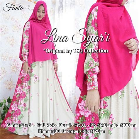 Carzia Jumbo Syari baju muslim setelan lina syar i gamis cantik ukuran besar