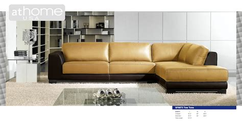 two tone leather sectional sofa sf6573bc two tone leather sectional sofa by at home