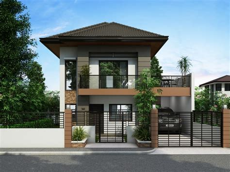 modern two storey house with streamline roof two story house plans series php 2014012 pinoy house