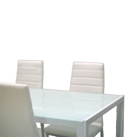 White Dining Table Metal Chairs 5 Glass Top Metal Dining Set Kitchen Table Chairs