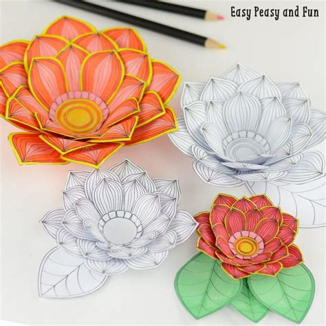 Paper Craft Of Flowers - paper craft flowers 3d coloring pages easy peasy and