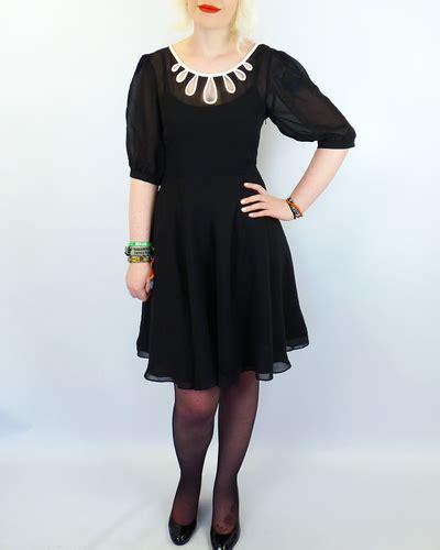 Black Dress Fever by Fever Valletta Retro 60s Mod Cut Out Neckline Chiffon