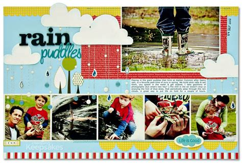 scrapbook layout magazine rain puddles by kim watson for the mar apr 2011 issue of