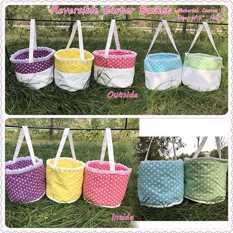 easter baskets cheap wholesale reversible canvas spot easter basket buy