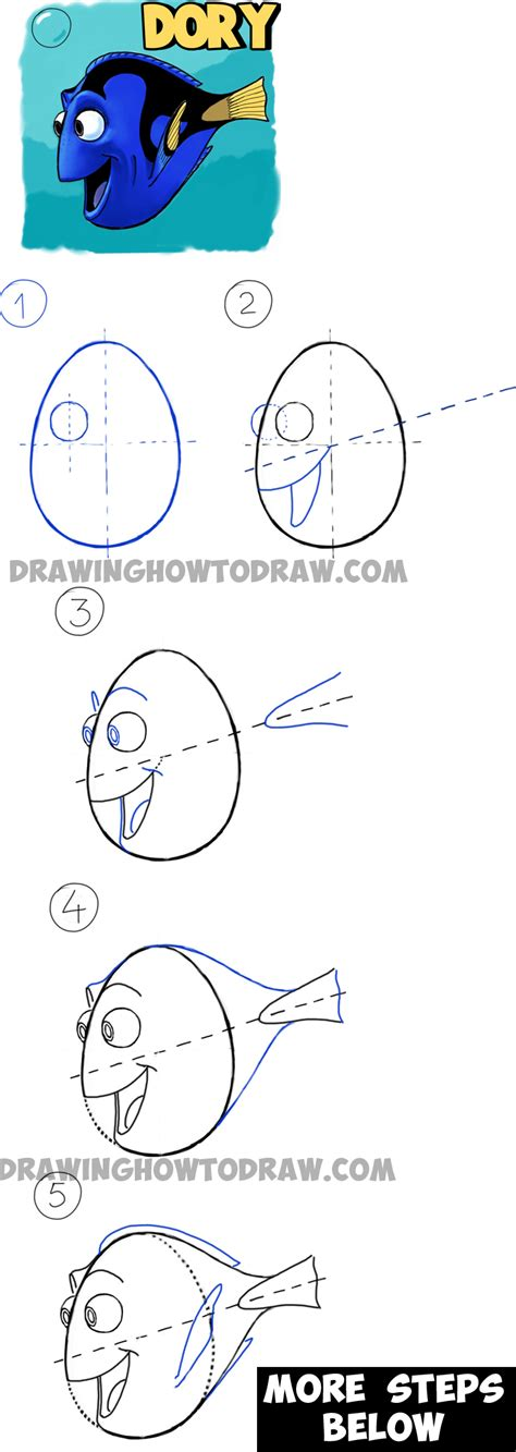 drawing step by step how to draw dory from pixars finding nemo in easy steps drawing tutorial how to draw