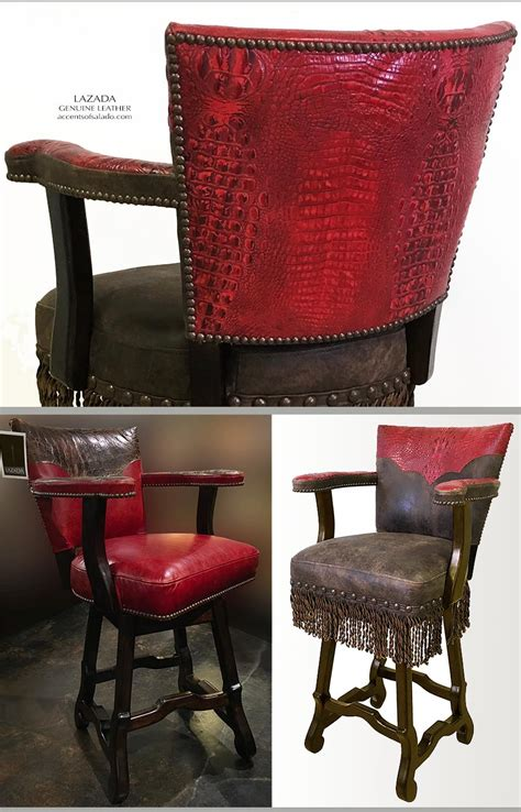 Genuine Leather Swivel Bar Stools by Western Style Cantina Leather Bar Stools