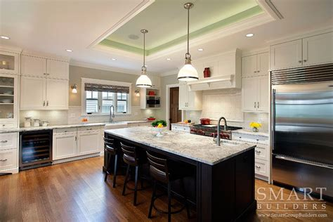 contemporary craftsman style custom home kitchen honed
