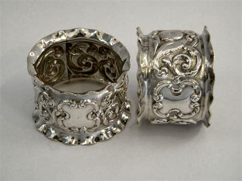 pair edwardian antique silver napkin rings sheffield 1906