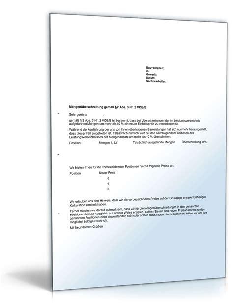 Musterbrief Preisanpassung musterbrief preisanpassung bei mengen 252 berschreitung nach vob