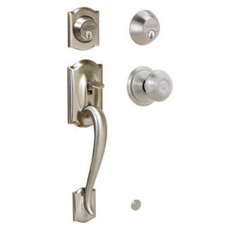 schlage locking interior bed bath knob georgian satin schlage camelot double cylinder satin nickel handleset