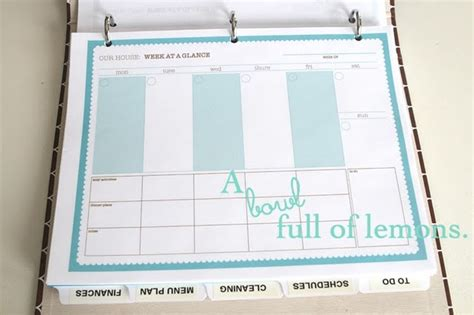 home organization binder free printable week at a glance calendar organized