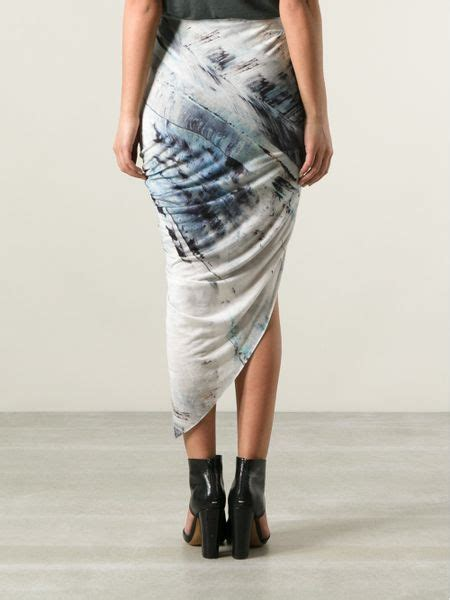 helmut lang draped skirt helmut lang asymmetric draped skirt in gray grey lyst