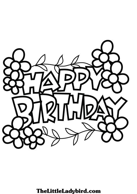 coloring pages of happy birthday signs banners coloring pages thelittleladybird com