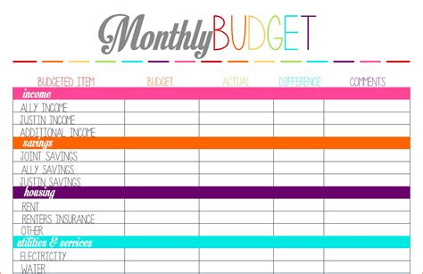 printable budget planner uk monthly budget planner worksheetmemo templates word memo