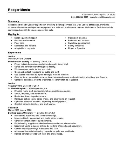 Janitorial Resume Sle janitor resume exles 25 images entry level janitor resume sle resume genius sle resume for
