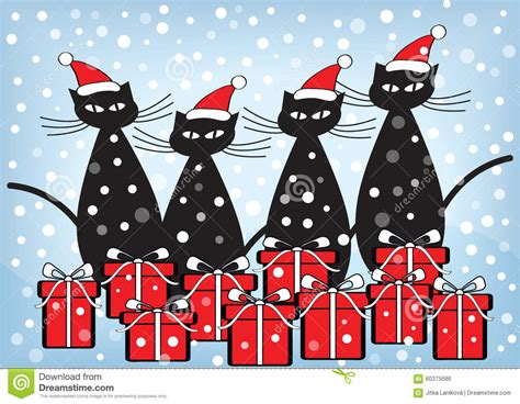 christmas card  cats  presents stock illustration image