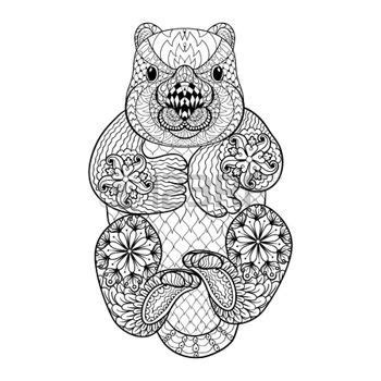 coloring books for adults australia zentangle tribal wombat animal totem for