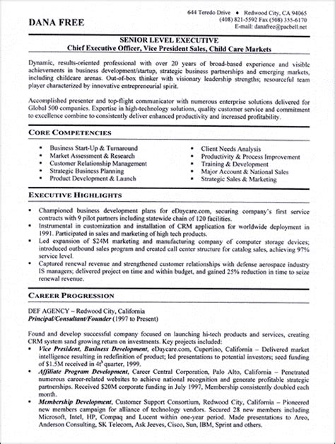 executive level resume templates see our professional executive resume writing exles