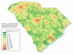 map of south carolina map population density