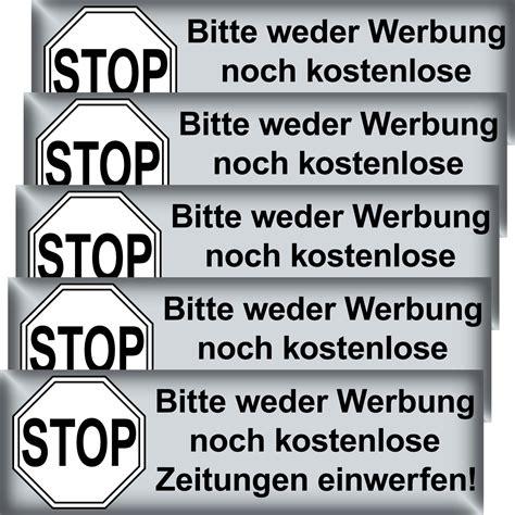 Aufkleber Auf Briefkasten Entfernen by 5 St 252 Ck Briefkasten Aufkleber Bitte Keine Werbung Reklame