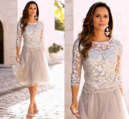 2017 newest short mother of the bride dresses lace tulle knee length 3 4 long sleeves mother