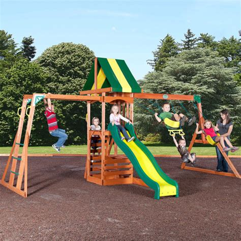 backyard playground sets backyard discovery colorado cedar swing set walmart com