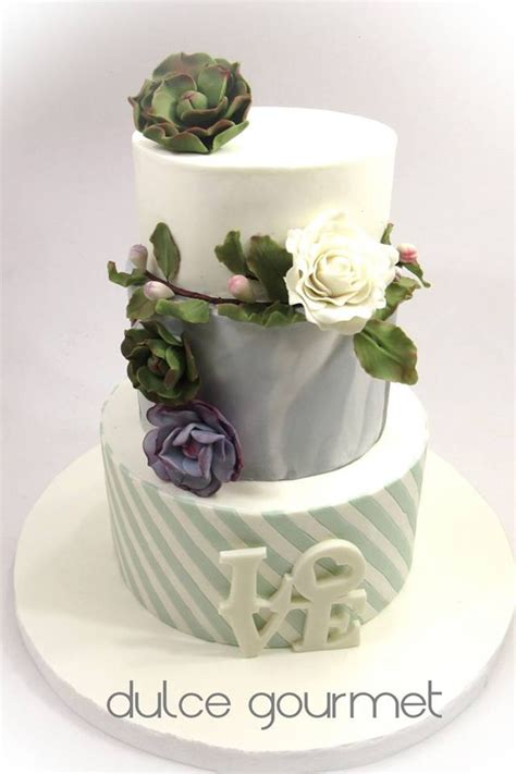 Wedding Cake With Succulents by Wedding Cake With Succulents Cakecentral