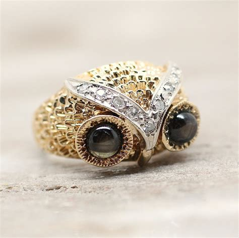 Pippin Vintage Jewelry by Circa 1960 14k Cat S Eye Owl Ring Pippin Vintage Jewelry