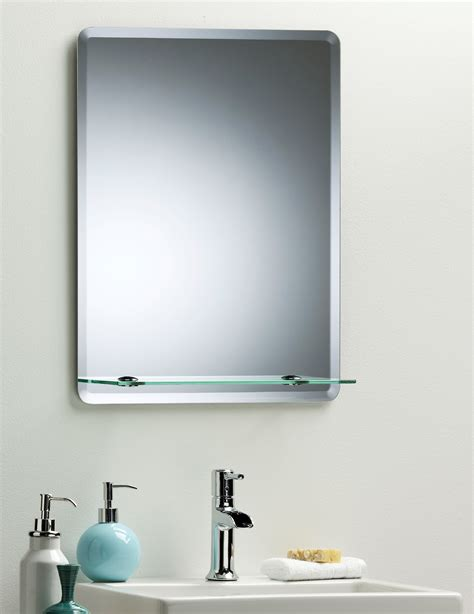 Bathroom Mirror Modern Stylish Rectangular With Shelf Mirror Shelves Bathroom