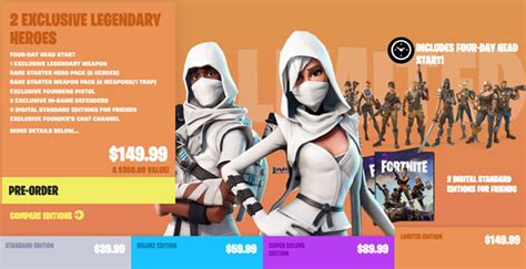 fortnite editions fortnite all edition packs items and pre order bonuses