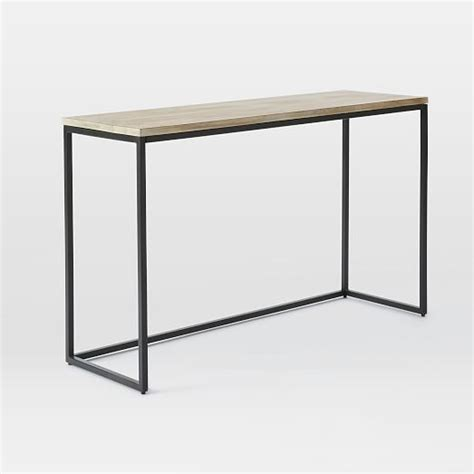 west elm sofa table box frame console table wood antique bronze west elm