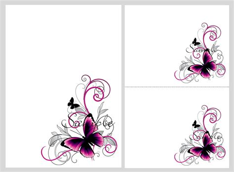 free butterfly card template pretty pink black butterflies blank invitation