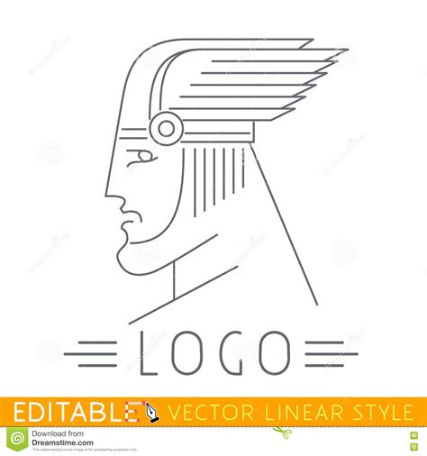 man in winged helmet head of greek or viking god logo