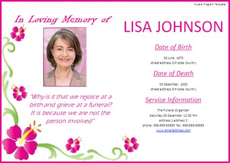 Funeral Program Template Free Printable Word Templates Funeral Announcement Template Free