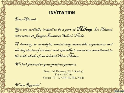Invitation Letter For Freshers In College Jbs Safari Milaap