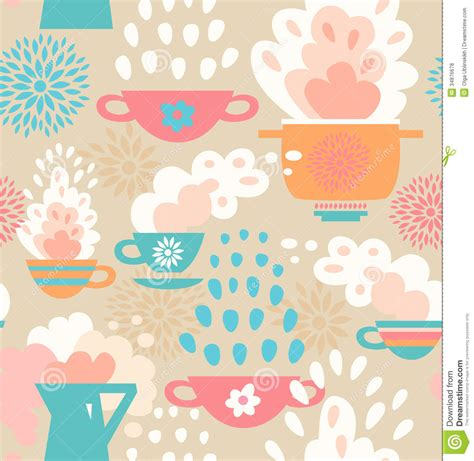 kitchen pattern background creative seamless kitchen pattern background with cups