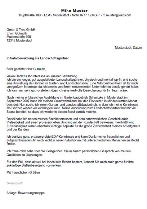 Initiativbewerbung Und Bewerbung Bewerbung Landschaftsg 228 Rtner In Berufseinsteiger Sofort